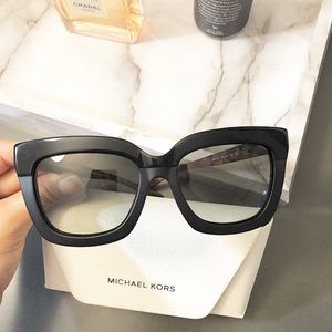 Michael Kor black sunglasses with brown temples